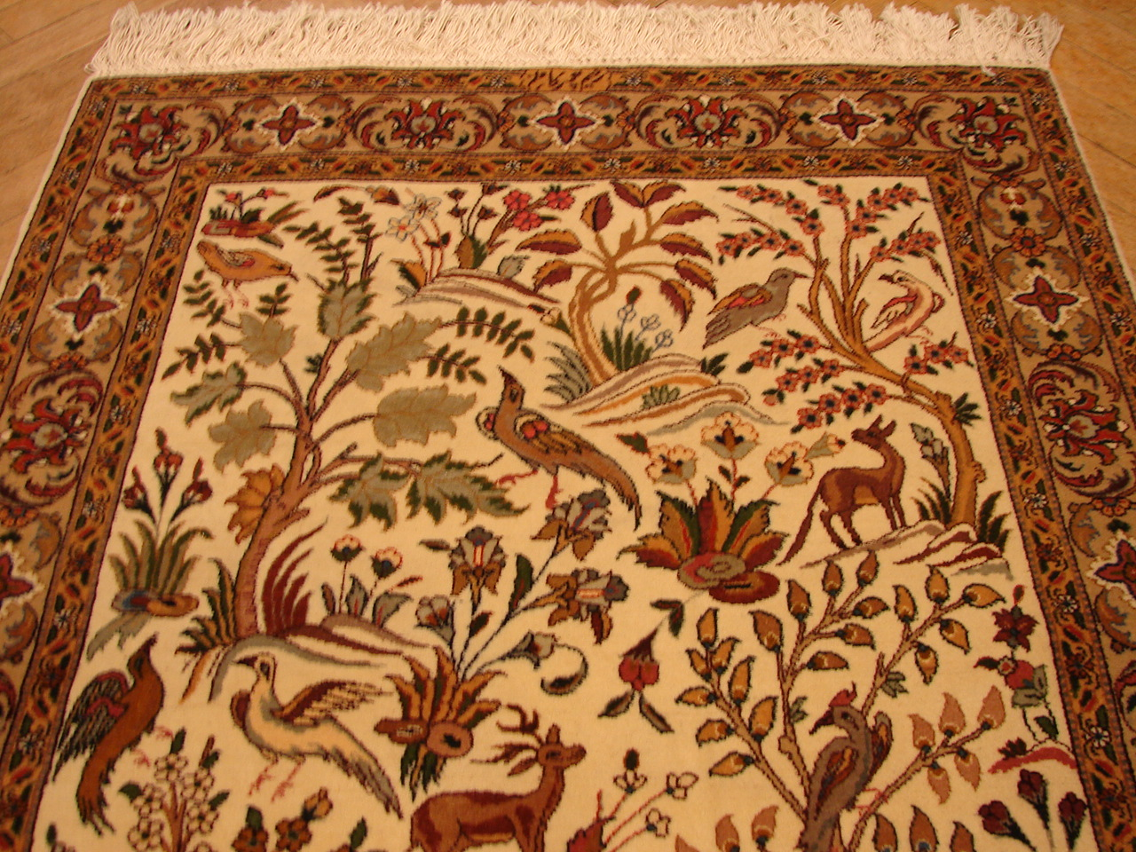 3x5 Wildlife Hunting Rug Persian Tabriz Rug Trees Birds