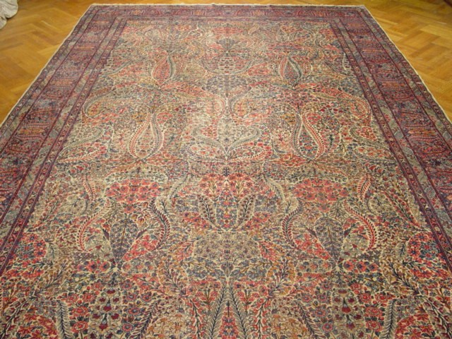 Original Antique Persian Lavar Kerman Rug 10x19