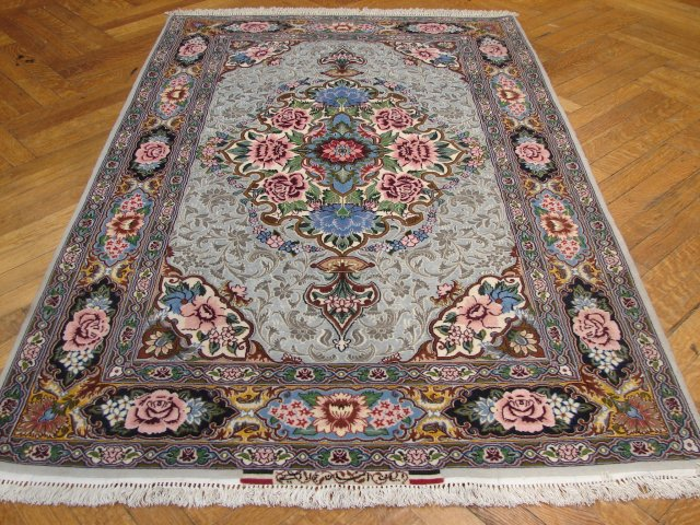 4x6 super fine signed high end silk&wool persian isfahan rug
