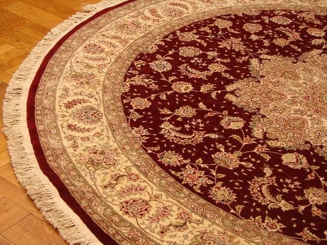8x8 Hand Knotted Silk Amp Wool Oriental Round Rug Burgundy