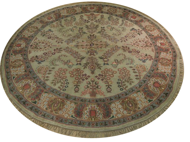 8 Handmade Sarouk Round Rug Light Green Ebay