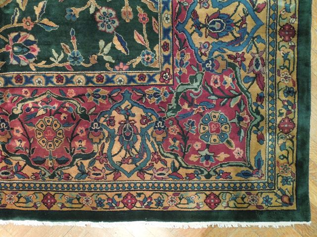 Emerald Green 12x18 Traditional Handmade Rug Tree Of Life