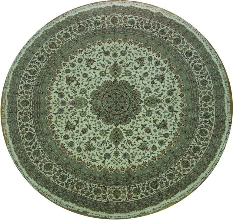 New 10x10 round rug handmade wool silk tabriz ebay for 10x10 carpet