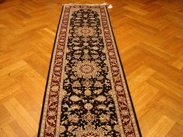 Silk Amp Wool New 12 Hallway Runner Black Burgundy Ebay