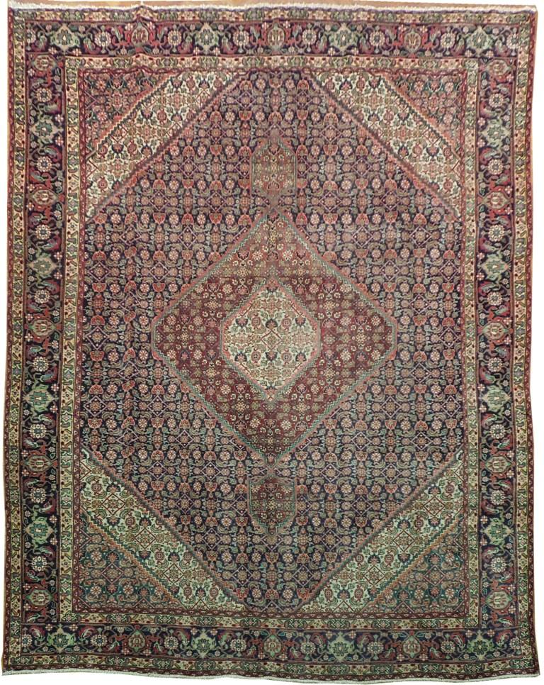 10x13 OLD PERSIAN Tabriz Mahi Fish Rug  WOOL PILE IRAN