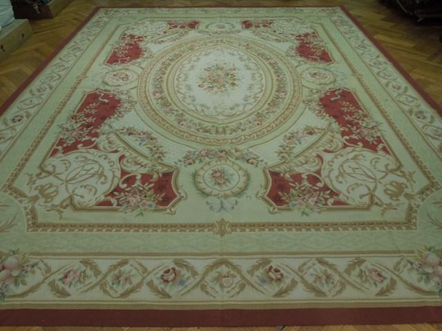 Aubusson 12x15 Flat Weave Rug Pastels Amp Burgundy Ebay