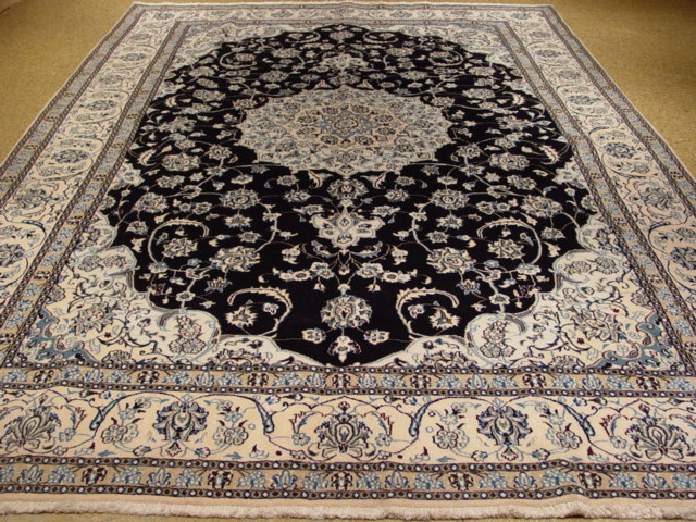 Authentic Hand Knotted Persian 9x12 Nain Rug Wool Amp Silk Ebay