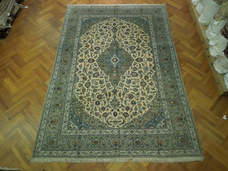Signed Authentic 9x13 Persian Rug Kashan Ivory Green Ebay