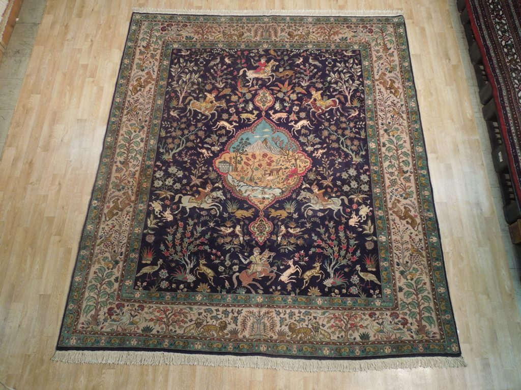 masterpiece signed persian tabriz rug 8x10 hunting ebay. Black Bedroom Furniture Sets. Home Design Ideas