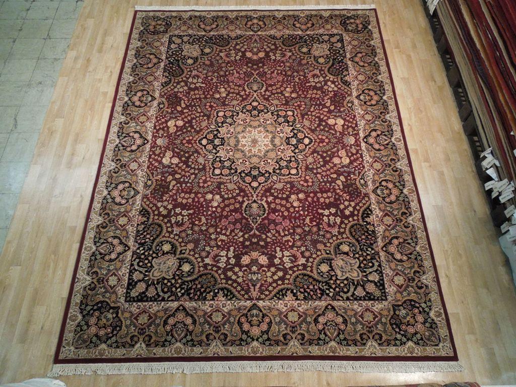 Wool Amp Silk 9x12 Fine Quality Rug Tabriz Burgundy Black Ebay