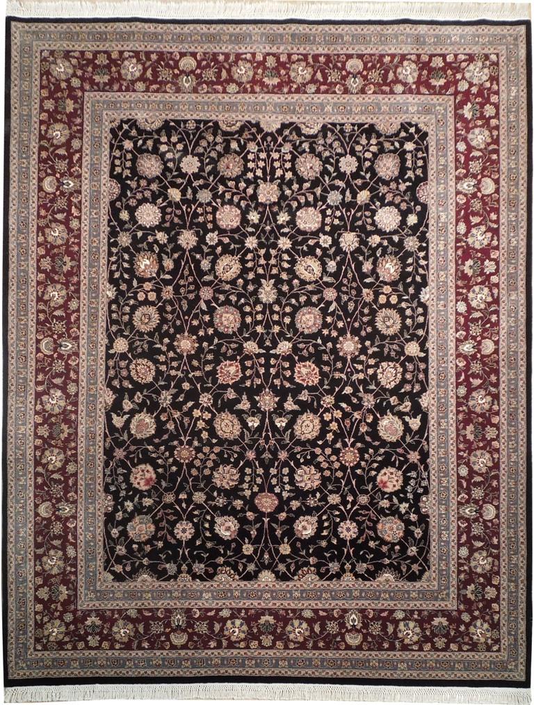 Wool Amp Silk 8x10 Oriental Rug All Over Black Burgundy Ebay