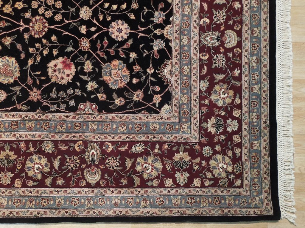 Wool Amp Silk 8x10 Oriental Rug All Over Black Burgundy Ebay