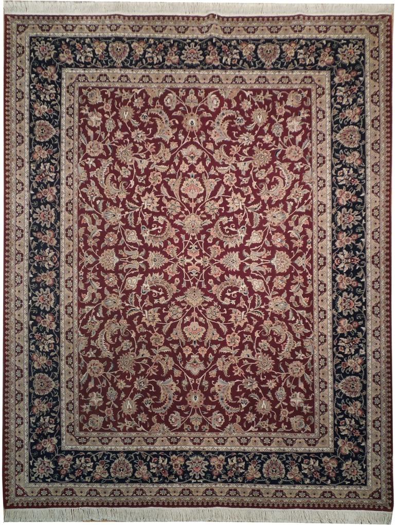 Fine Wool Silk Rug Burgundy 8x10 Area Rug Handmade