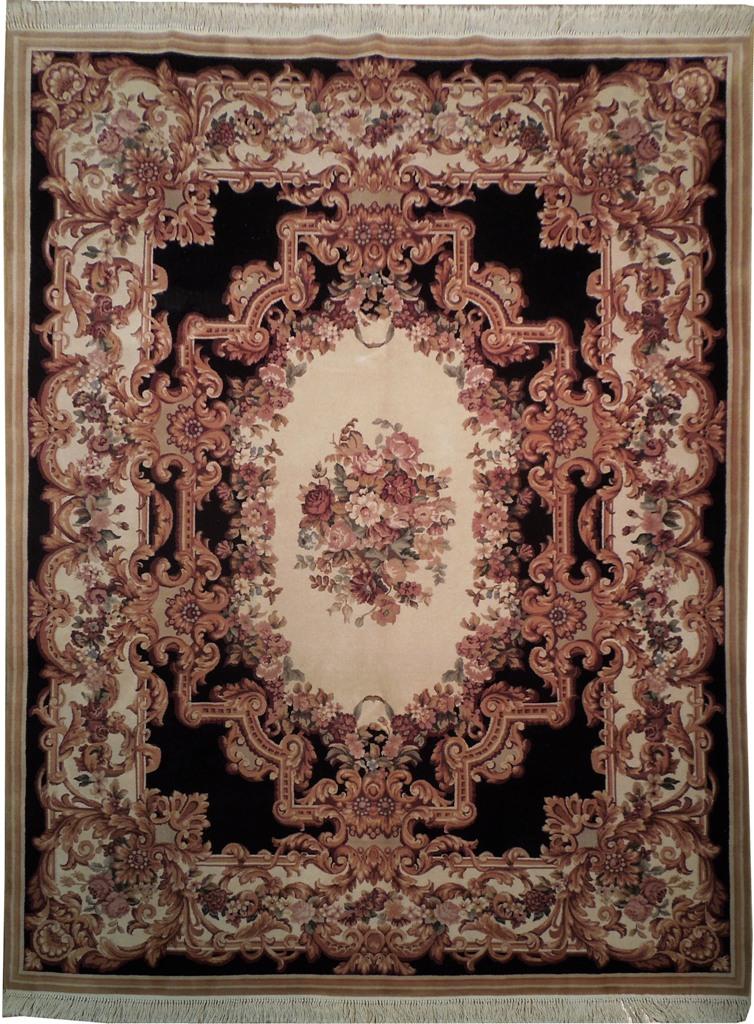 Handmade 8x10 Black Aubusson Fine Quality Wool Pile Rug Ebay