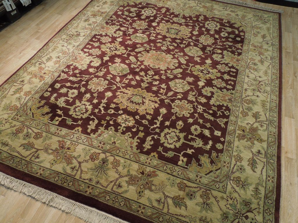 Maroon thick oriental wool 8x10 hand made new rug for Thick area rugs sale