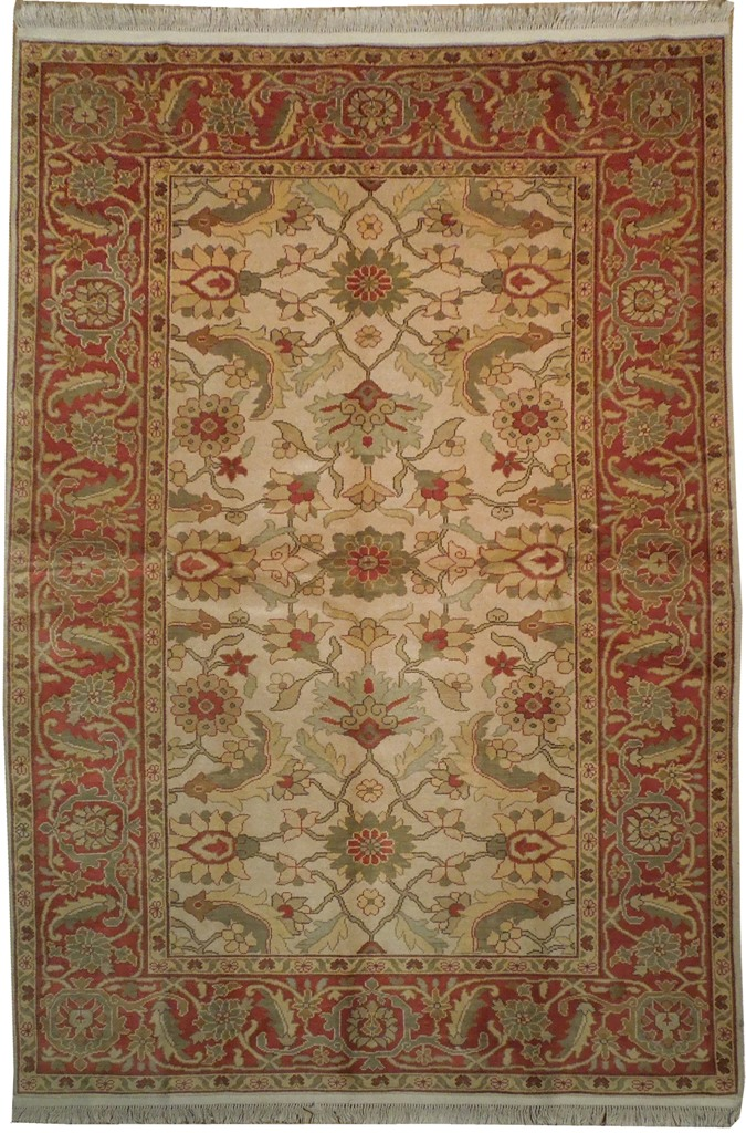 Beige Red 6x9 Chobi Traditional Handmade Area Rug