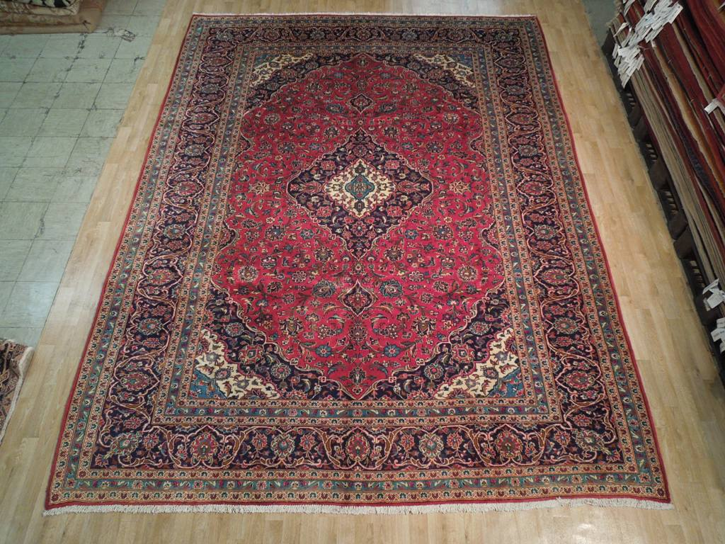Red Blue 13x10 Authentic Persian Wool Kashan Rug Ebay