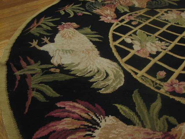 Rooster In Cage New Rural Decor Handmade 5 Ft Round Rug