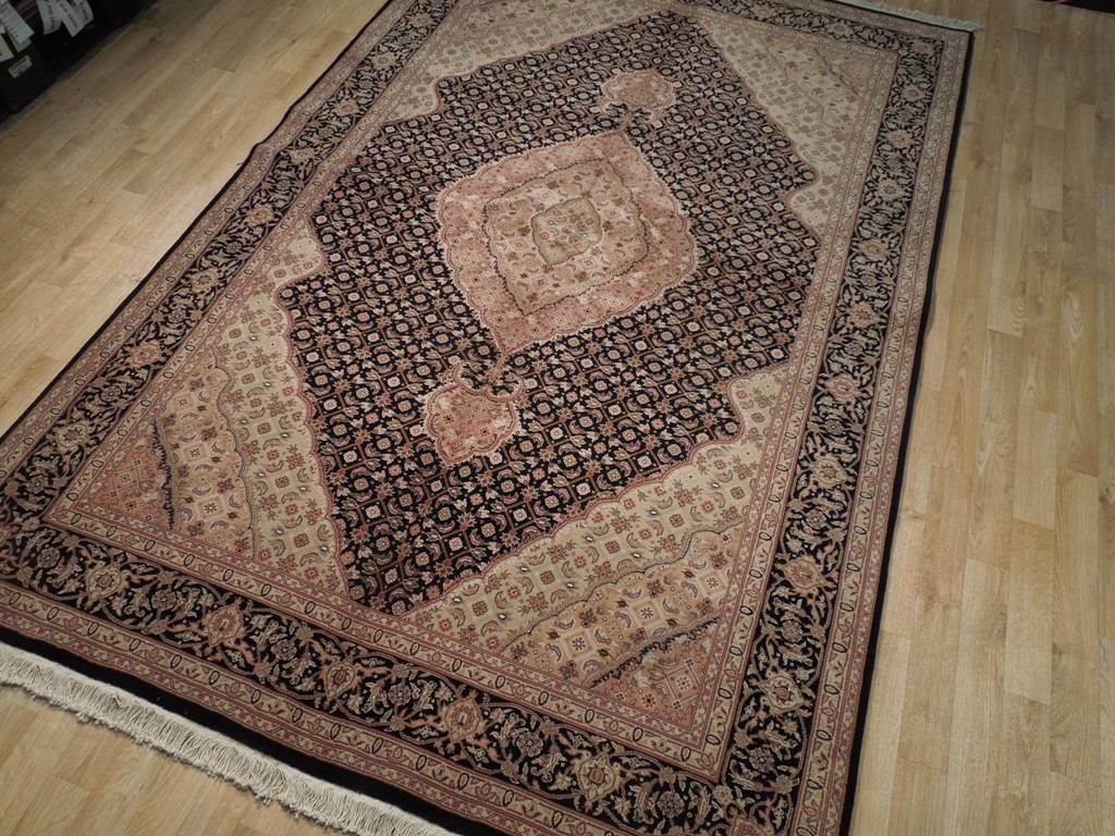 Black Tabriz Fish 6x9 Wool Silk Area Rug Ebay