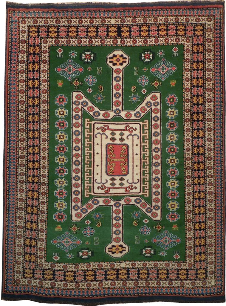 Harooni Eagle Kazak Green 5x7 Famous Oriental Area Rug