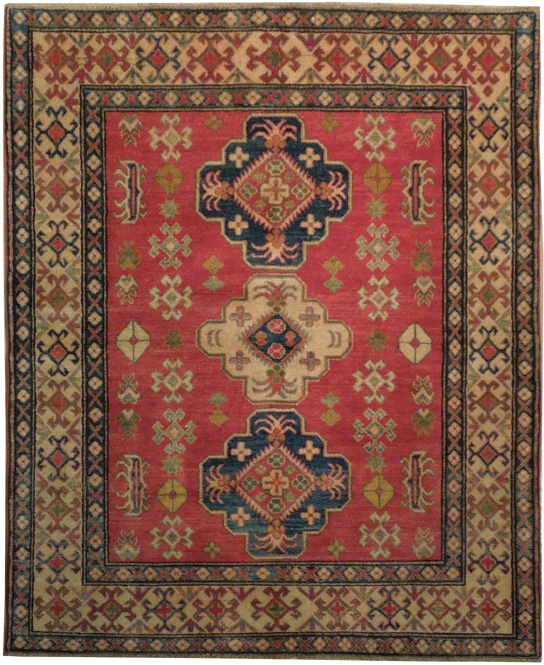 5 X 6 Vintage Kazak Persian Oriental Wool Hand Knotted: Traditional 5x6 Hand Woven Traditional Kazak Rug