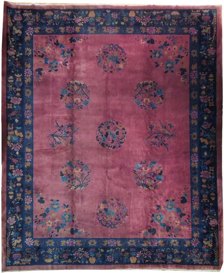 Antique Chinese Rug: 12x15 Antique Art Deco Chinese Rug PLUM BLUE