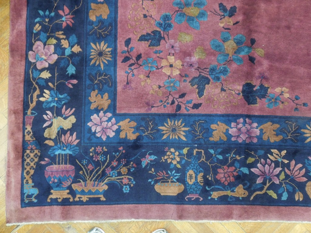12x15 Antique Art Deco Chinese Rug Plum Blue Ebay