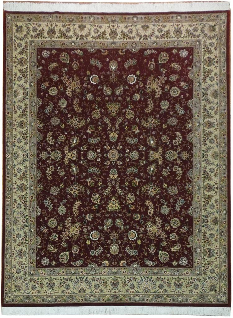 Burgundy Hand Woven 8x10 Wool Amp Silk High End Area Rug Ebay