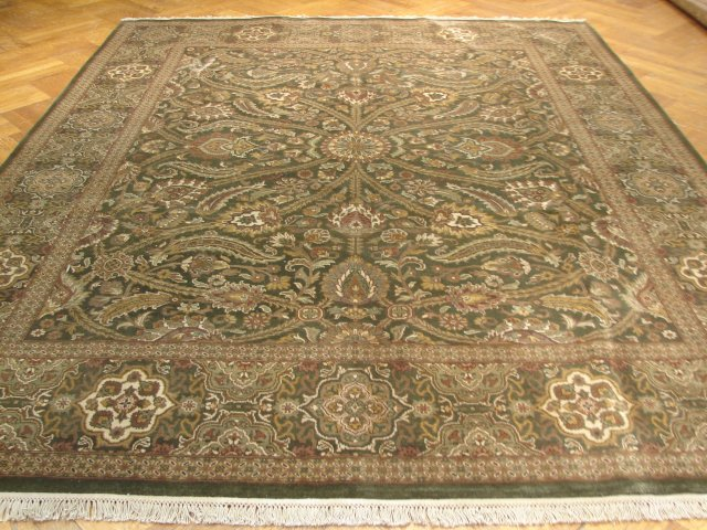 Green 8x10 Hand Made Jaipour Rug Dense Soft Wool Pile Ebay