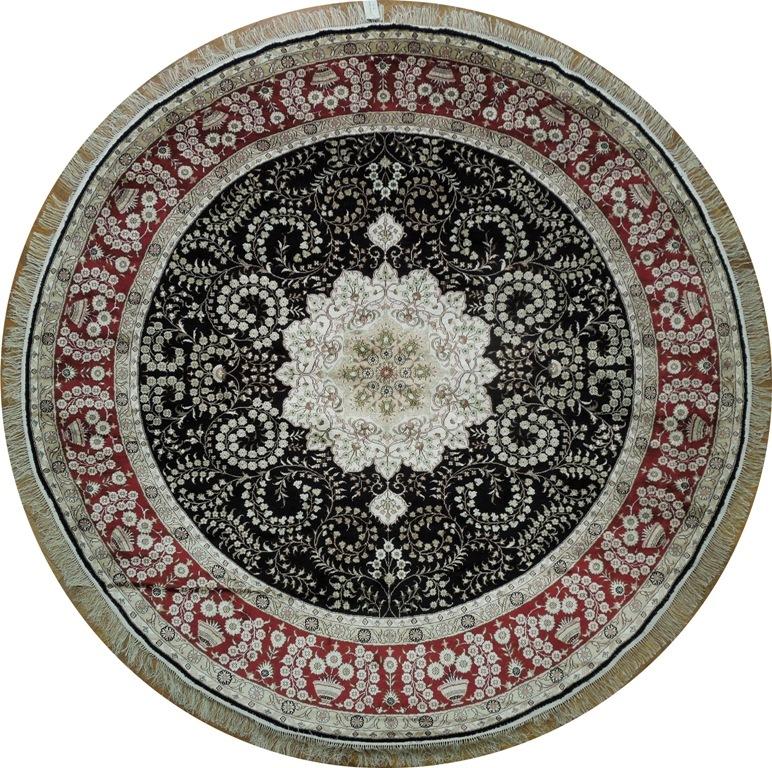 Black Deep Red New Oriental 9x9 Silk On Silk Round Rug Ebay