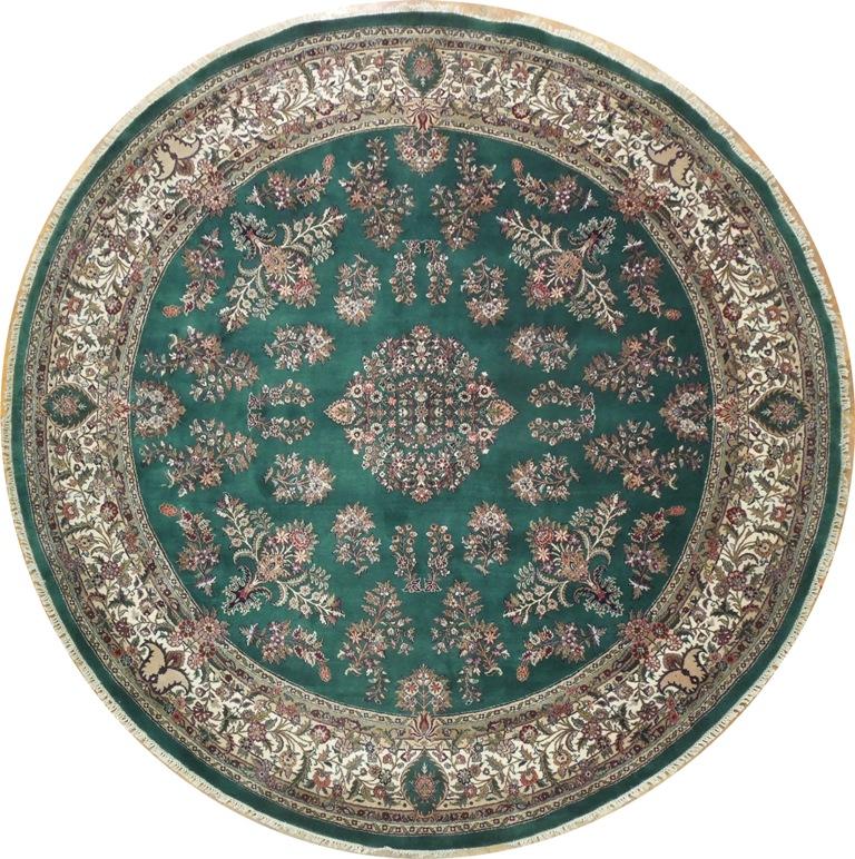 10 Round Sarouk Rug Green Ebay