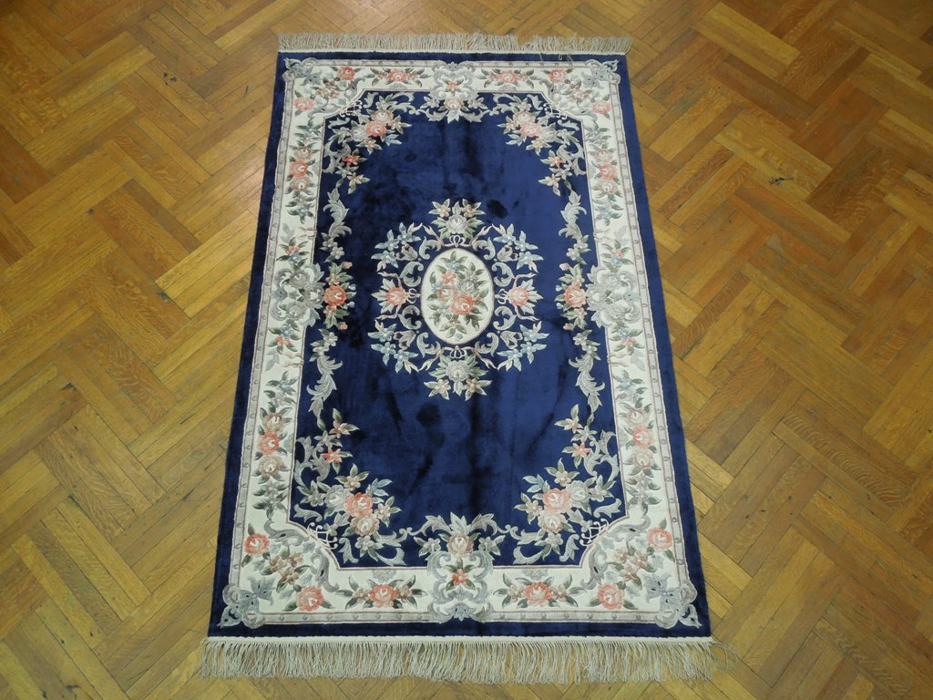 Brilliant Silk 5x8 Navy Blue French Design Aubusson Rug Ebay