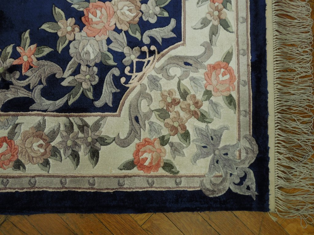 Brilliant Silk 5x8 Navy Blue French Design Aubusson Rug Ebay