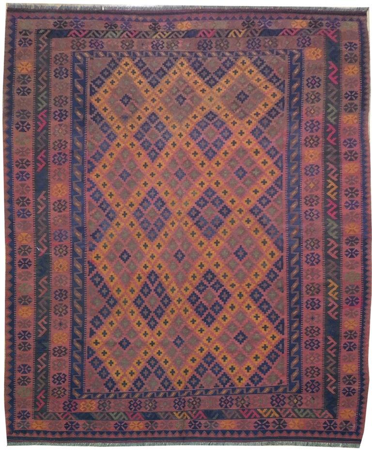 Orange-Rust Intricate Handmade 8x9 Tribal Kilim Rug
