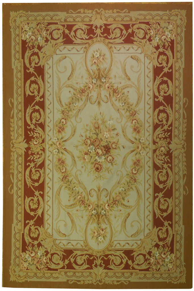 6 X 9 French Aubusson Flat Weave Rug L Green With