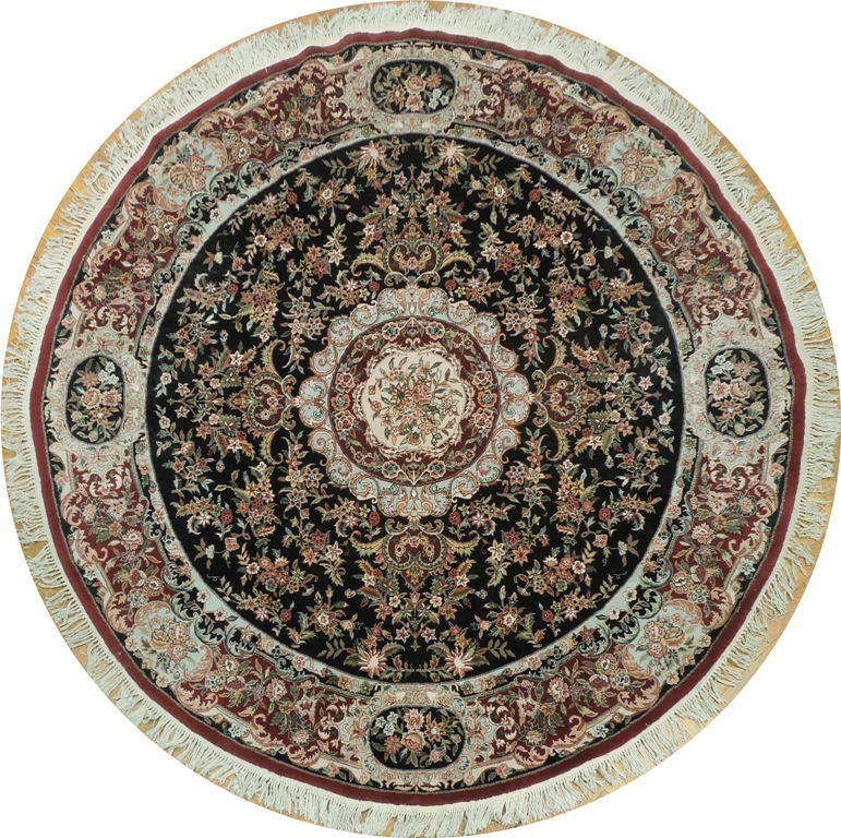 Round Wool Persian Rug: Persian Tabriz 8' X 8' Wool&Silk Round Area Rug