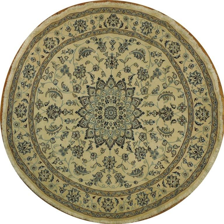 Art Work 7x7 Handmade Wool Amp Silk Persian Nain Round Rug Ebay