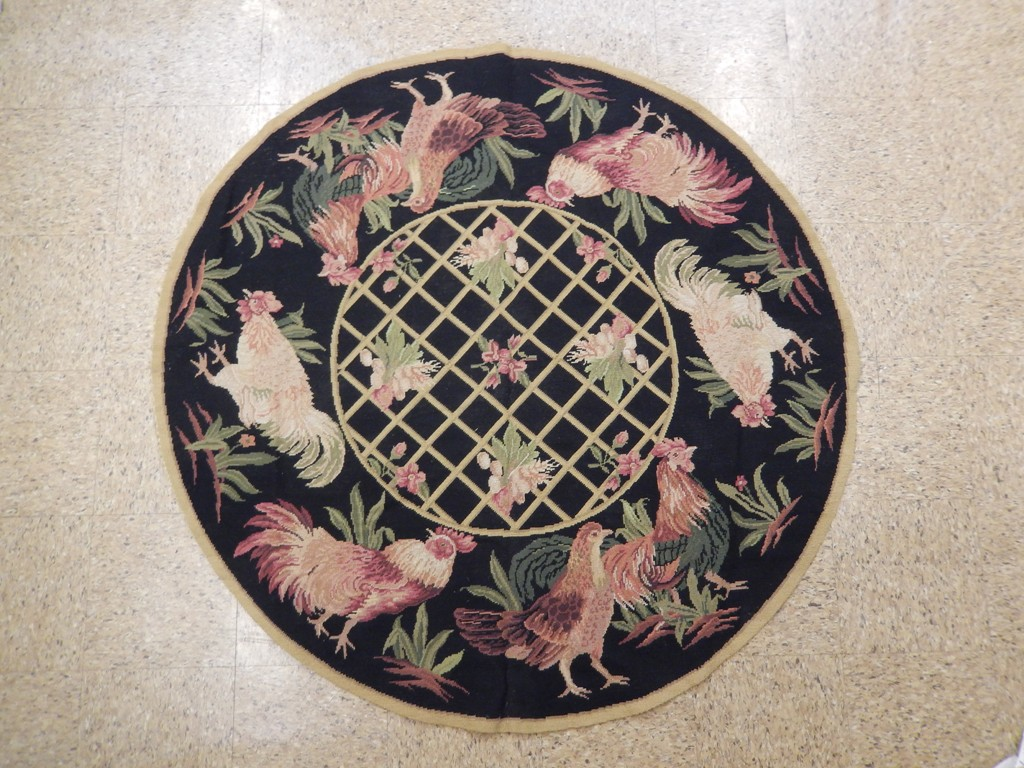 Rooster 5x5 Hand Knotted Round Needlepoint French Rug