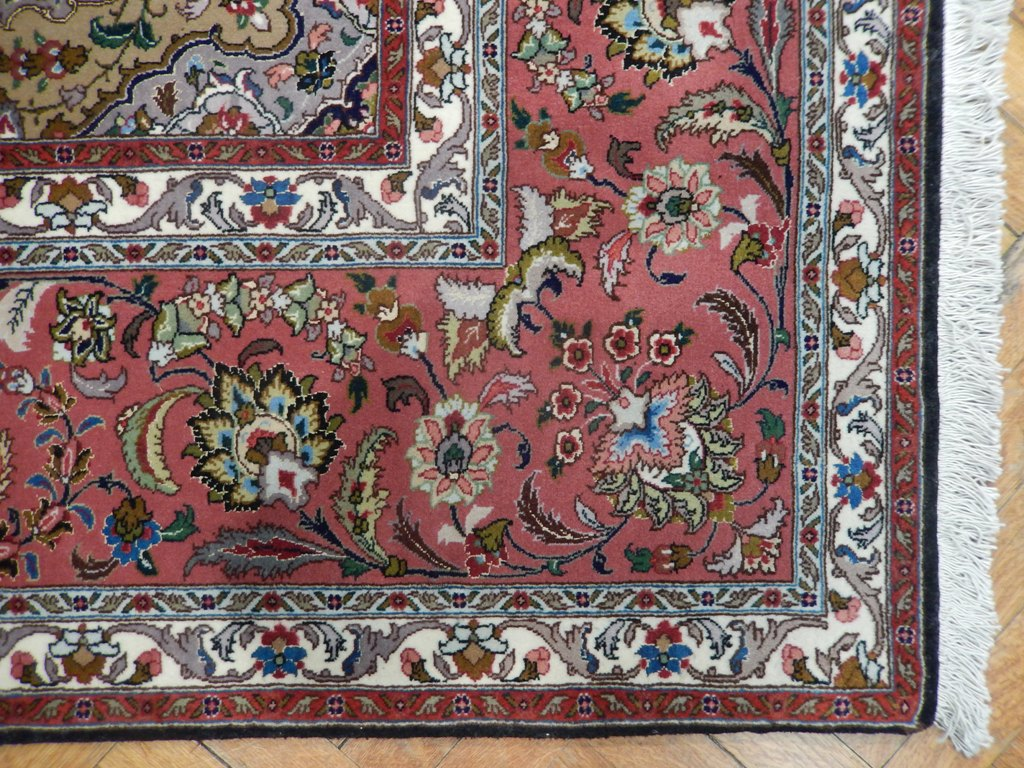 8x10 Black Persian Wool Amp Silk Tabriz Rug 400 Kpsi Ebay