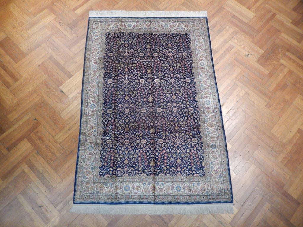 6x8 turkish hereke silk rug d blue ebay. Black Bedroom Furniture Sets. Home Design Ideas
