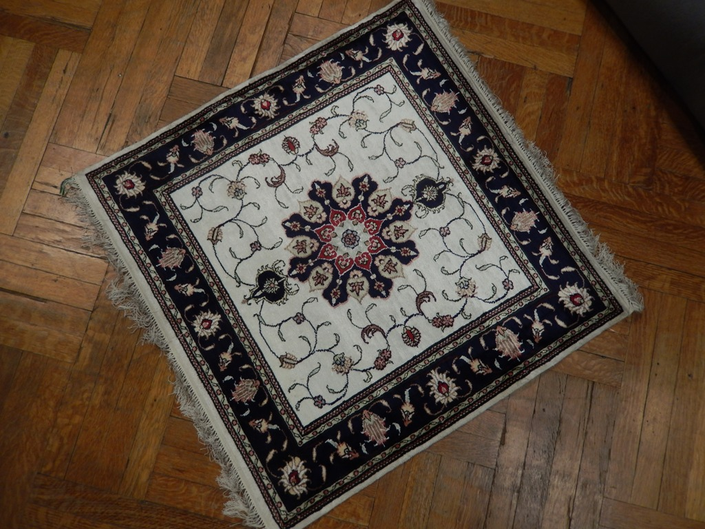 Square Silk Carpet Handmade 3x3 Rug Tabriz Design