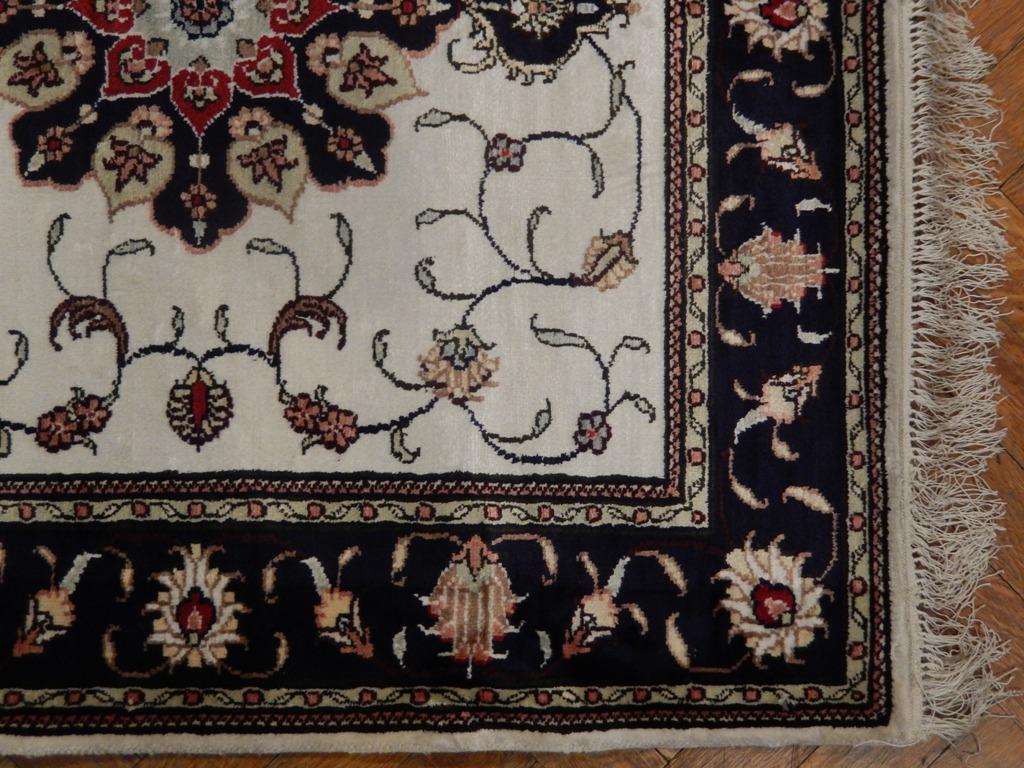 Square Silk Carpet Handmade 3x3 Rug Tabriz Design