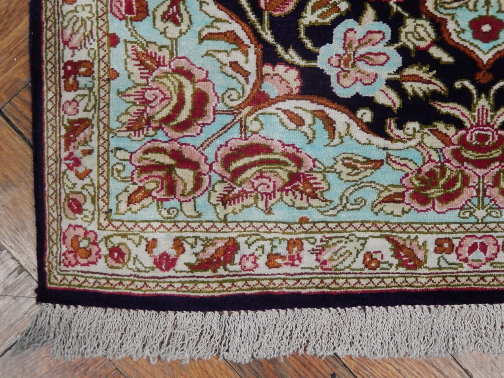 Hang Rug On Wall: Wall Hanging Oriental Handmade 2x3 Persian Qum Silk Rug