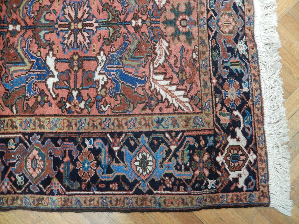 Rust Vintage 8x10 Semi Antique Persian Heriz Wool Rug Ebay