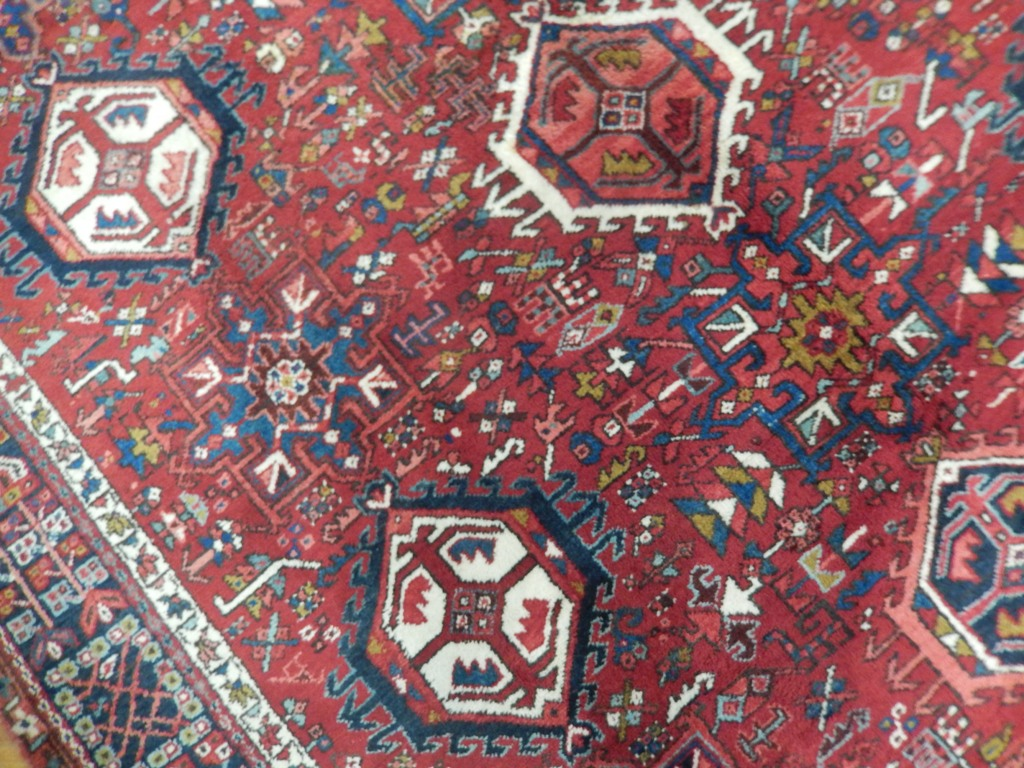 Unique 8x11 all over old persian heriz karaja area rug for Area rugs new york