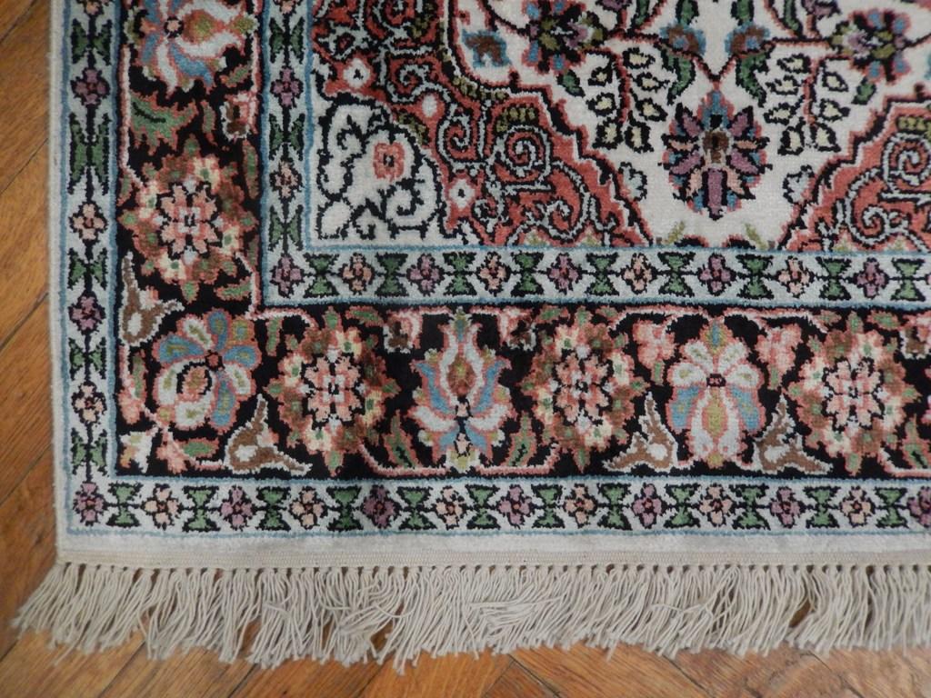 Small Ivory Black Hand Woven 3x4 Kashmir Silk Area Rug Ebay