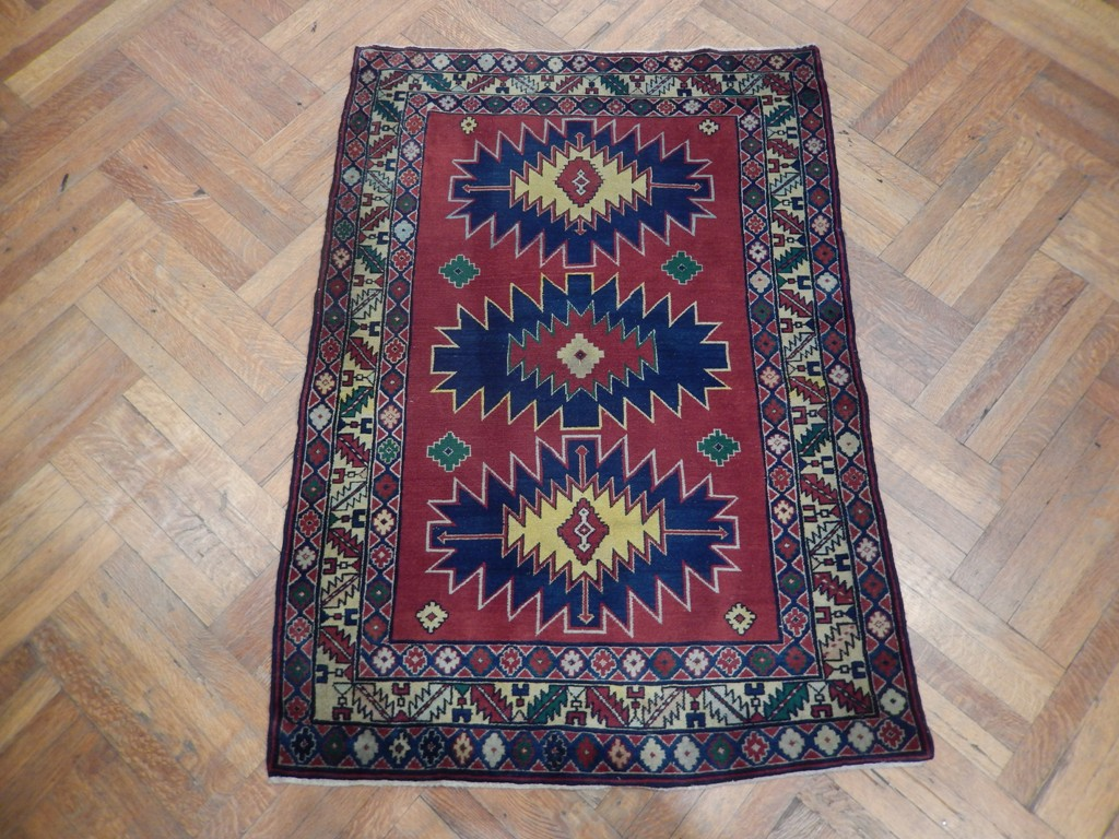 Kazak Excellent Handmade Carpet 4x5 Semi Antique Russian