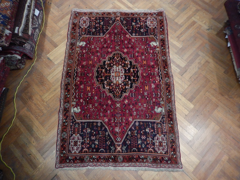 Wool On Wool 5x8 Persian Tribal Shiraz Rug Stunning Sun