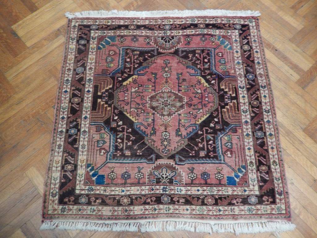 Semi Antique Persian Heriz Decorative Handmade Square