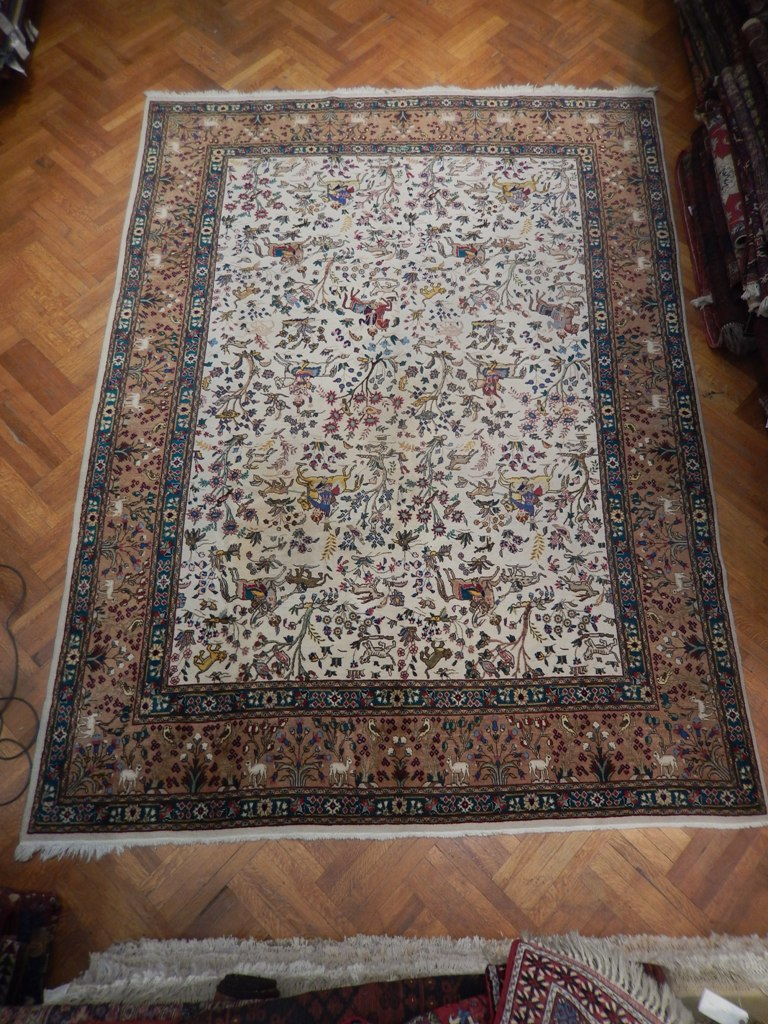 Hunting Scene Original Handmade Rug 10 X 13 Semi Antique